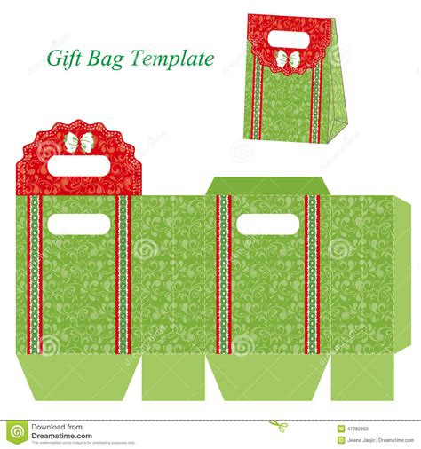 gift bag template green gift bag template with floral pattern and ribbon