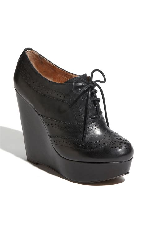 oxford wedge shoes aldo horvath oxford wedge in black black leather lyst