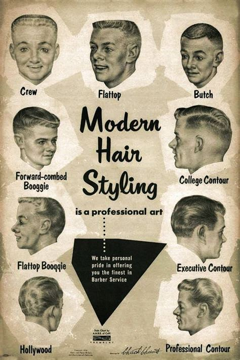 vintage haircut chart modern men s hairstyles from the 1950s hipster s alert