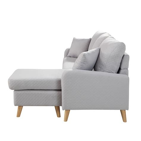 Modern Fabric Small Space Sectional Sofa With Reversible