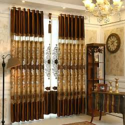 Insulated Drapery Fabric Luxury Brown Lace Patterned Living Room Curtains