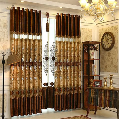 brown curtains for living room luxury brown lace patterned living room curtains