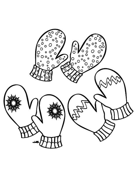 coloring page of a pair of mittens three pair of mittens coloring pages color luna