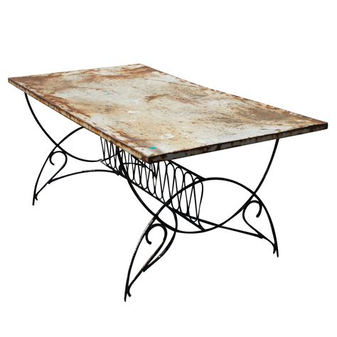 5 5 ft vintage deco metal outdoor patio dining table