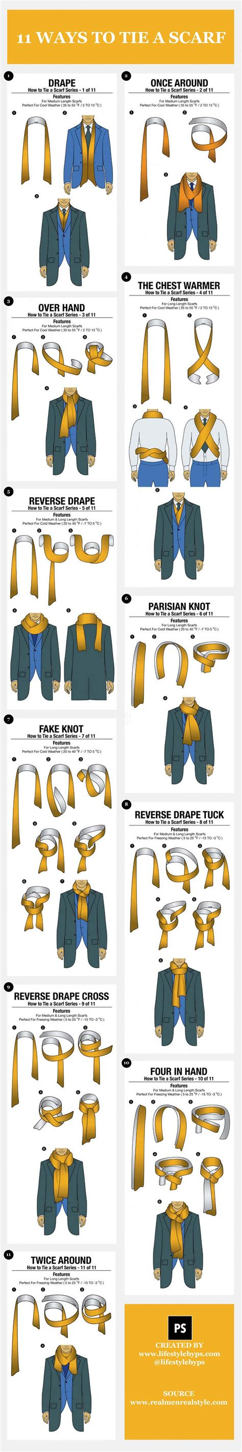 infographic of the day 11 simple ways to tie a s scarf