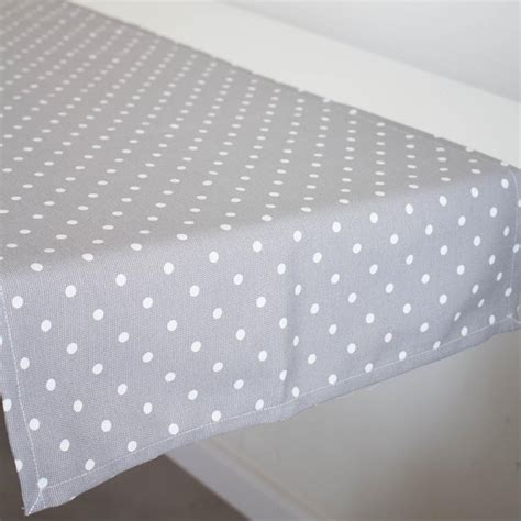 grey and white table runner table runner with white dots in grey boho deco shop