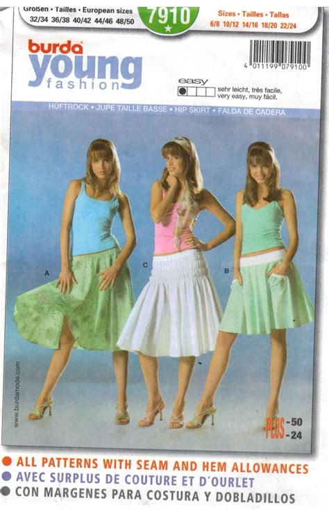 sewing patterns young fashion burda pattern 7910 young fashion hip skirt sizes 6 8