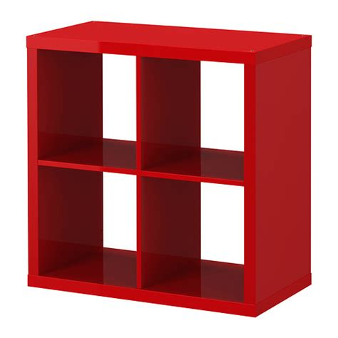 8 Cube Bookcase Kallax Shelving Unit High Gloss Red Ikea