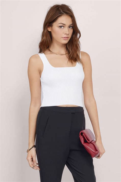 Cropped Ribbed Tank Top White S white crop top ribbed crop top sleeveless crop top