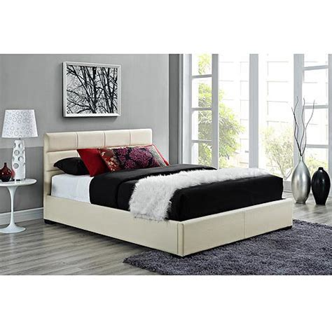 walmart upholstered bed modena queen faux leather upholstered bed with headboard