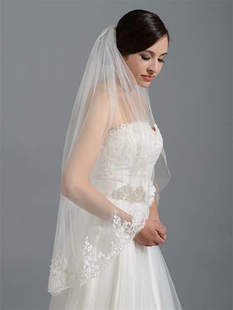 Wedding Veil by Ivory Alencon Lace Wedding Veil V037n