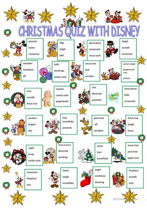 printable christmas quiz esl christmas quiz with disney characters worksheet free esl