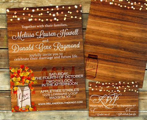 rustic fall wedding invitation shower invitation fall
