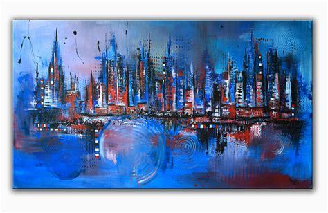 malerei modern bild blau skyline acrylmalerei modern alex b bei