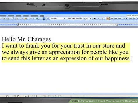 customer thank you letter template