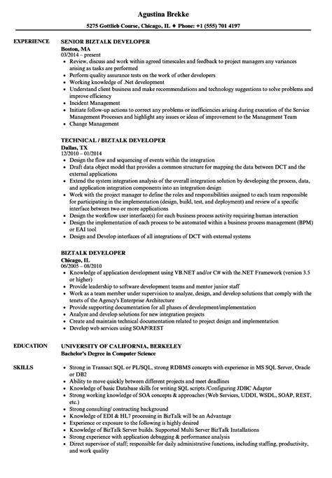 Biztalk Developer Sle Resume by Biztalk Developer Resume Sles Velvet