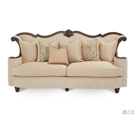 wood trim sofas michael amini victoria palace upholstery wood trim sofa by