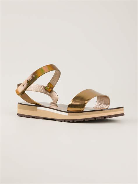 gold metallic sandals lanvin flat sandal in gold metallic lyst