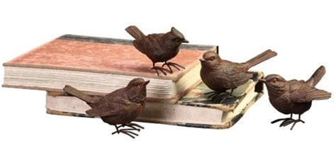 set of 4 rustic decorative bird figurines home decor 3 3 4