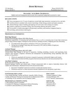 Manager Auto Body Technician Resume Sample With