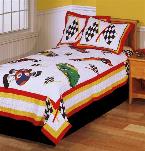 twin bedding sets for boy race cars boys bedding twin quilt set checkered racing