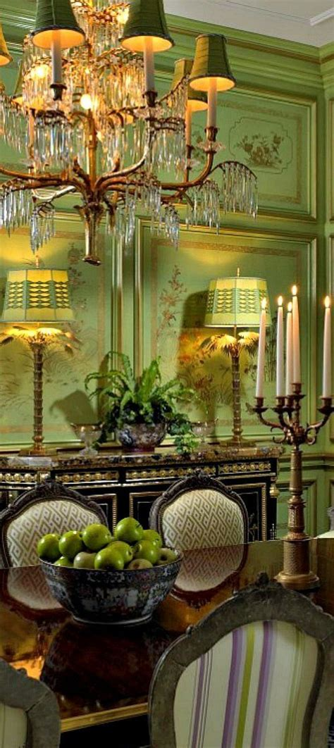 english green formal dining room draperies lighting