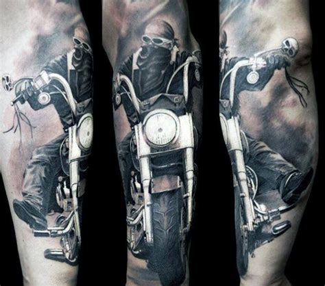 motorcycle sleeve tattoo designs 70 biker tattoos for manly motorcycle ink design ideas
