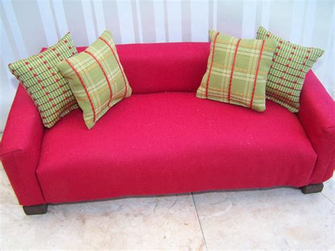 how to make a barbie couch red twill barbie sixth scale sofa with pillows