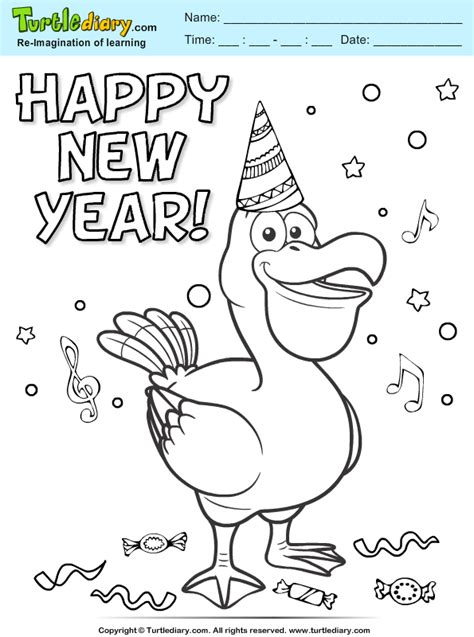 happy new year coloring pages happy new year coloring sheet turtle diary