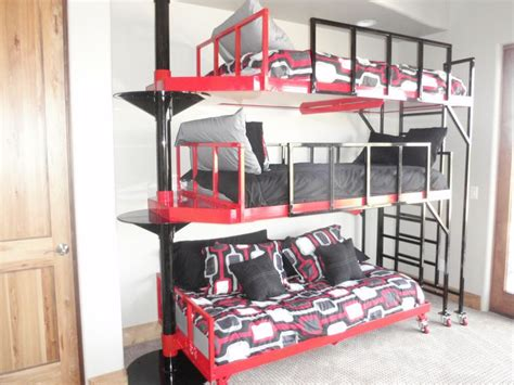 3 High Bunk Beds Contemporary 3 Tierd Pivoting Bunk Bed For The Home