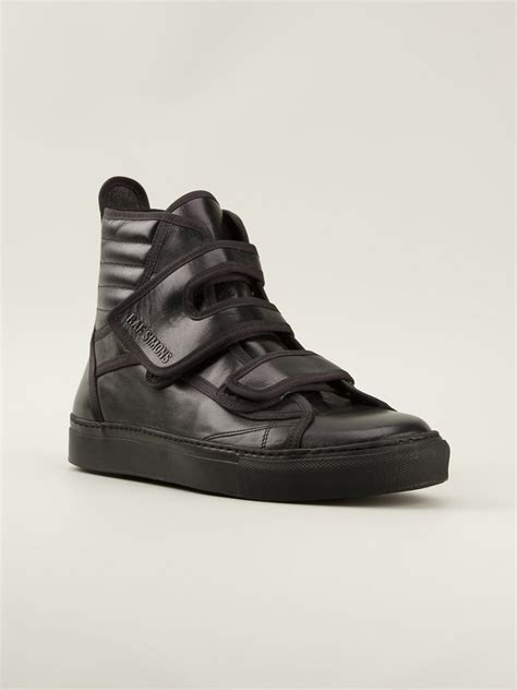 raf simons velcro fastening hitop sneakers in black for lyst