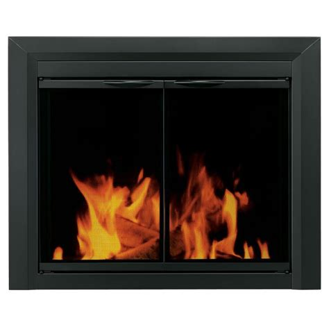 Shop Pleasant Hearth Carlisle Black Small Cabinet Style Tempered Glass Cabinet Doors