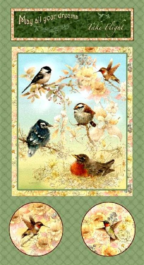 cotton quilt fabric panel garden melodies birds flowers