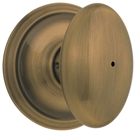 schlage siena antique brass bed bath knob modern