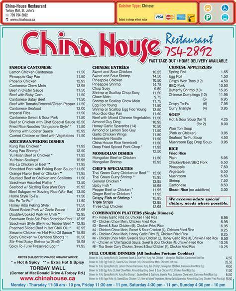 china house menu china house restaurant torbay rd st john s nl