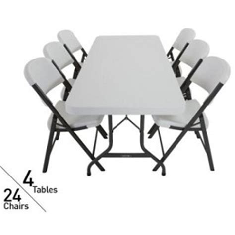 Lifetime Tables And Chairs by 4 Lifetime 6 Folding Tables And 24 Folding Chairs 80148 White