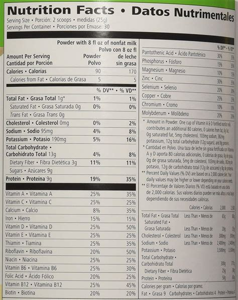 Herbalife Formula 1 Nutritional herbalife nutrition facts label nutrition ftempo