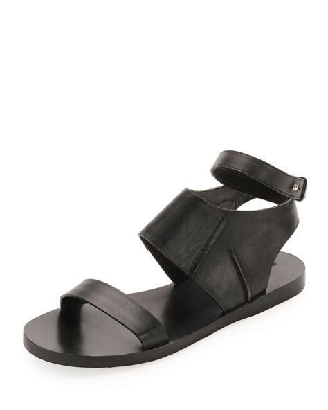 ankle wrap sandal costume national calfskin flat ankle wrap sandal in black