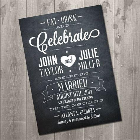 diy chalkboard wedding invitations eat drink and celebrate chalkboard wedding invitation