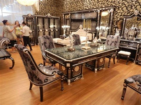 exotic dining room sets new item luxury black silver plated colour new european