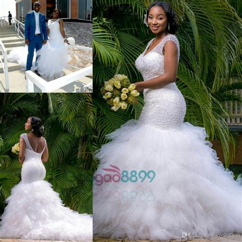 Sexy African Country Mermaid Cathedral Train Wedding