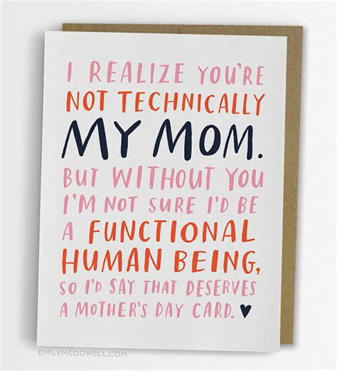 mom cards not technically mom mother s day card stepmother
