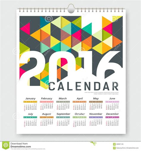 layout calendar design 2016 calendar 2016 colorful triangle geometric design stock