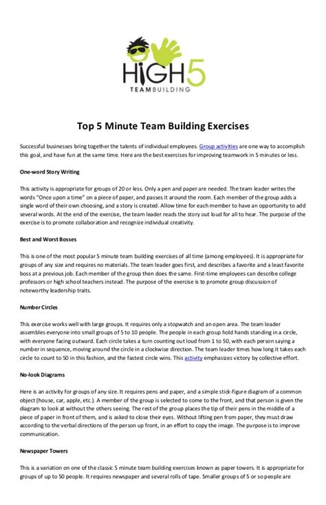 Team Building Worksheets For Adults by Top 5 Minute Team Building Exercises