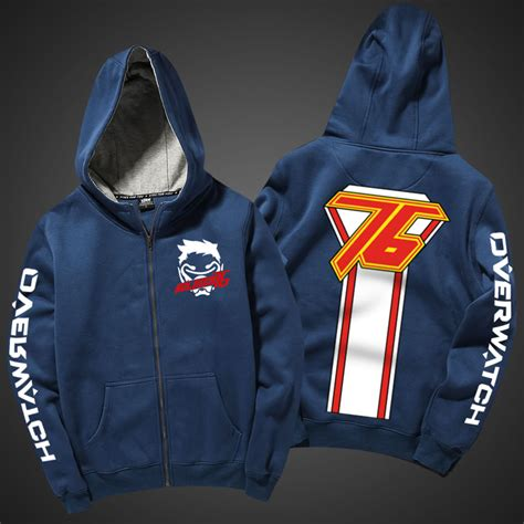 Zipper Hoodie Overwatch Brothersapparel 2 cool overwatch soldier 76 hoodie zip up blue hooded sweatshirt wishining