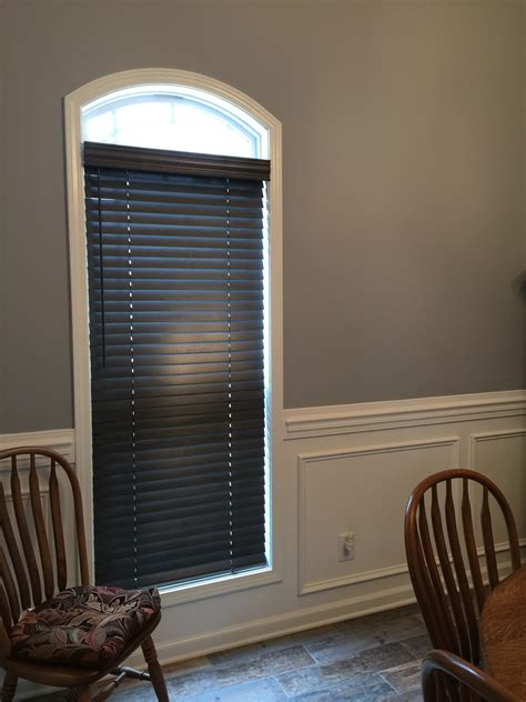 faux wood arch window blinds cordless wood blinds installed in clarksville
