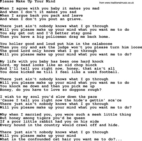 how to make a song hank williams song please make up your mind lyrics
