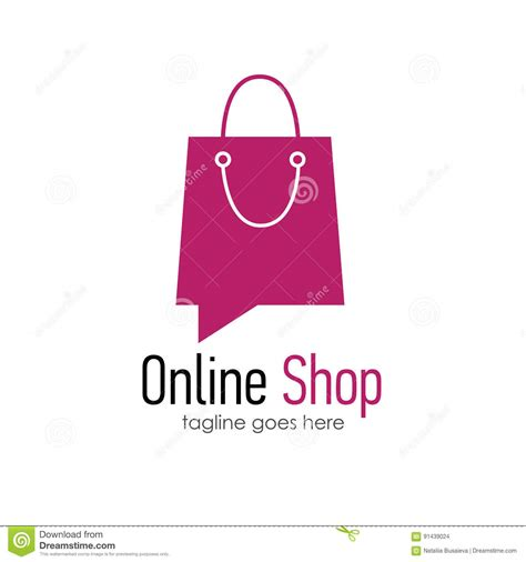 online shop logo design template stock vector image