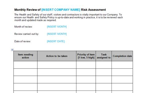 risk assessment monthly review template bizorb