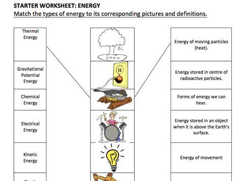 ks3 types of energy starter activity by smkso teaching